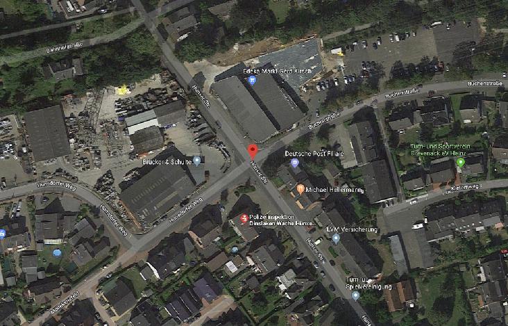 Ausschnitt des Bereiches in Drevenack (Quelle: Google Maps)