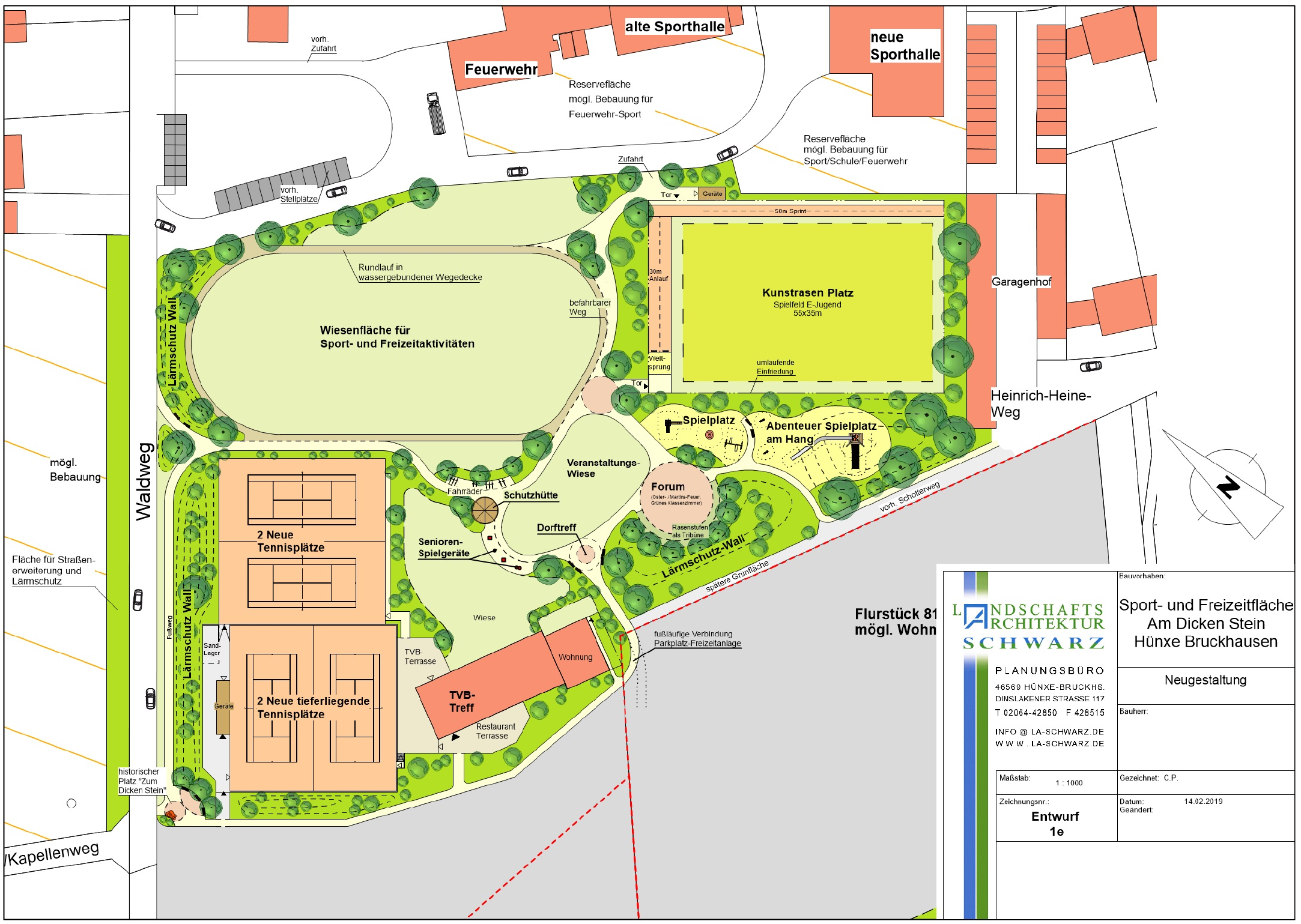 So könnte der Sportplatz in Bruckhausen bald aussehen.  (Quelle: Landschaftsarchitekt Friedhelm Schwarz)