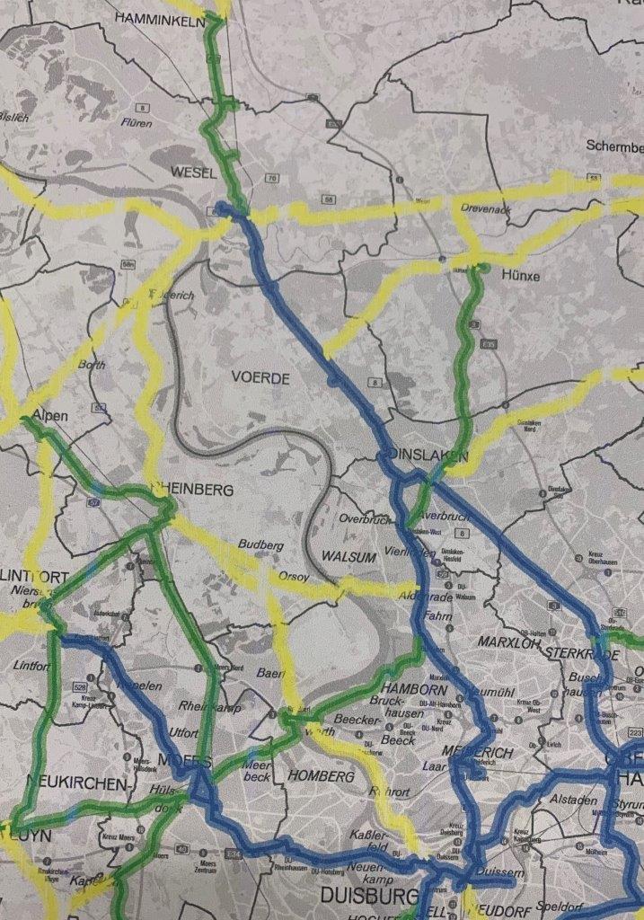 Karte des geplanten Radwegenetzes zwischen Duisburg und Hamminkeln am rechten Niederrhein